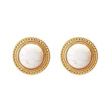 Real gold plating Hot koop Zinc Alloy Earring Natural White Turquoise Earring Studs oor sieraden