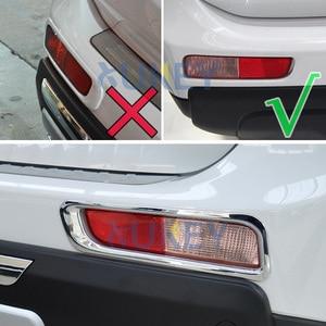 Image 3 - Dla Mitsubishi Outlander 2013 2014 Chrome przednie tylne światło przeciwmgielne lampa przeciwmgielna pokrywa tapicerka zderzak Protector dekoracja Car Styling
