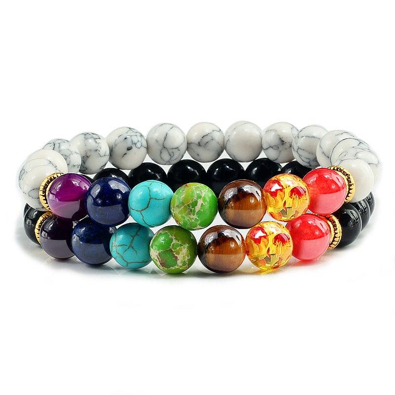 2 Teile/satz Trendy Schwarz Weiß Stein Perlen 7 Chakra Charm Natur Lavastein Armband Paar Abstand Armband Liebhaber Schmuck Geschenke