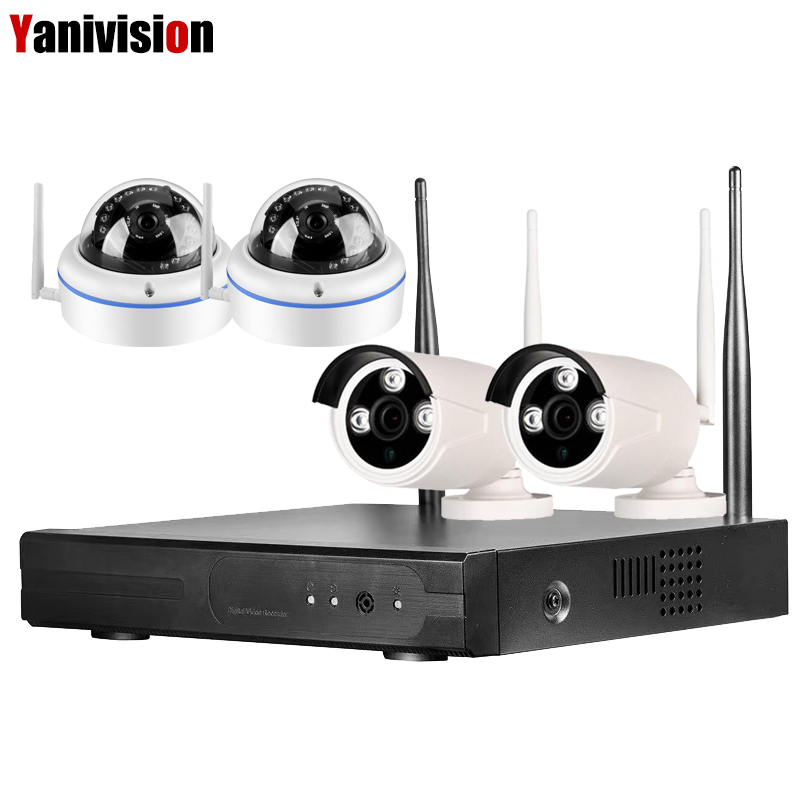 4CH 1080P Wifi CCTV IP Security Camera System Wifi NVR Wireless Ip Camera Indoor Outdoor Surveillance Video Wifi Kit 2MP