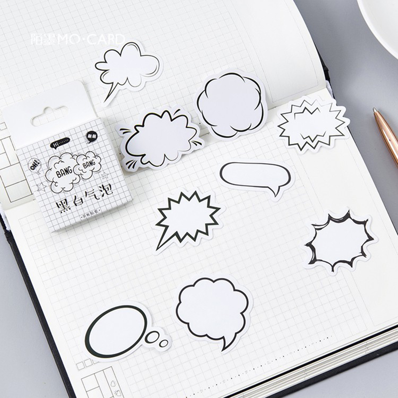 45pcs Creative Writable Paper Stickers Set DIY Scrapbooking Stickers Sticky Note