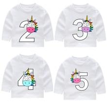 2-14 Year Old,Kid Happy Birthday Rainbow Unicorn Number 1-9 Bow Long Sleeve T-shirts Autumn Boy Girl Long Sleeve Toddler Top Tee цена
