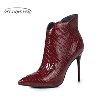 Women Genuine Leather Short Ankle Boots Fur Winter Natrual Leather Black Red Boots Women Crocodile Bare