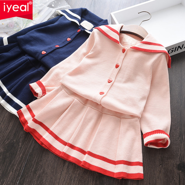 IYEAL New Toddler Kids Girl Clothes Set Cotton Knitted Active Tops + Skirt 2PCS Children Outfit Child Sport Suit for 2-8 Years