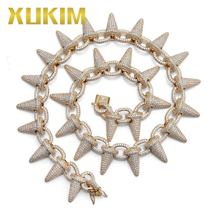 Xukim Jewelry AAA Cubic Zirconia Iced Out Rivet Spike Chain Link Mens Necklace Hip Hop