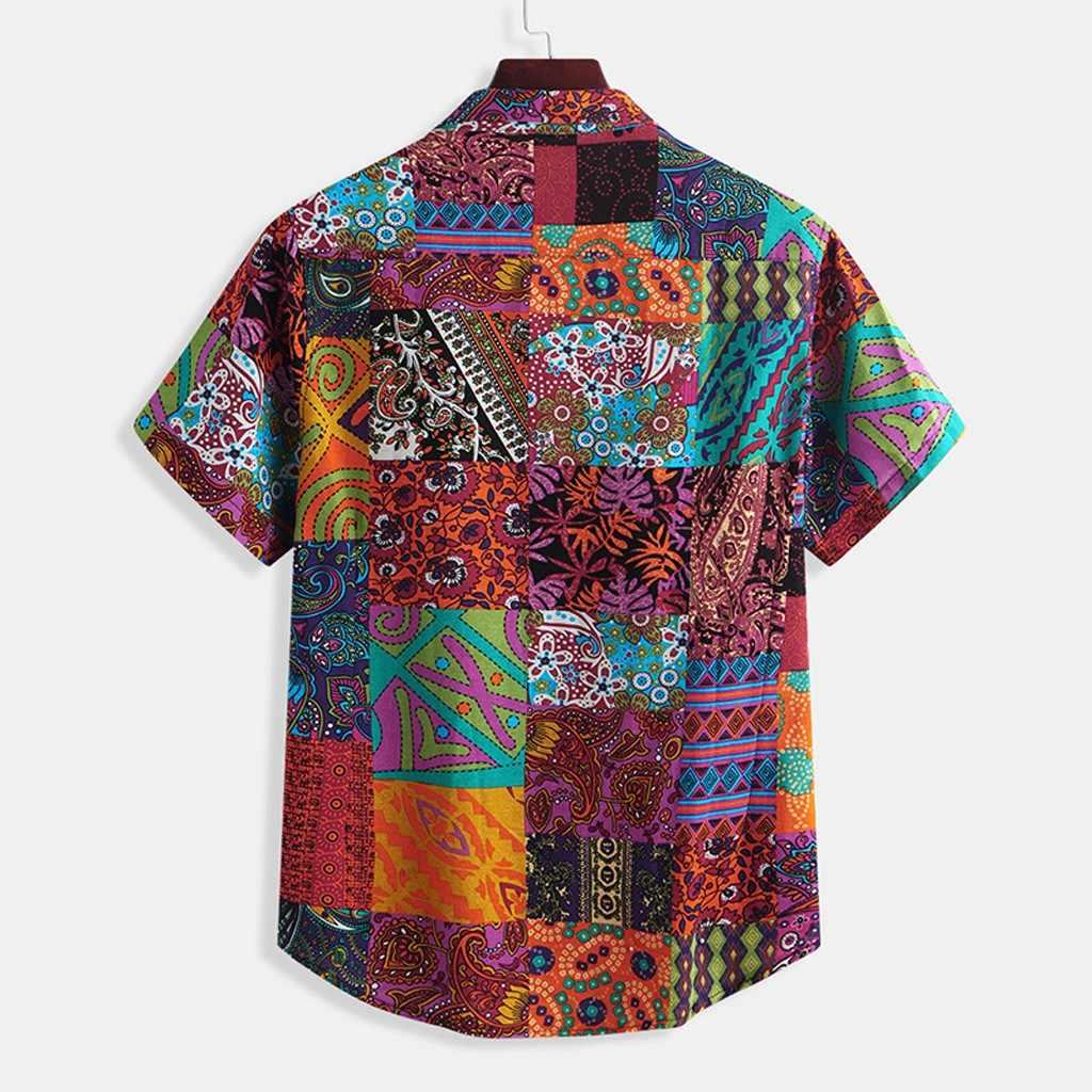 Plus Ukuran Hawaiian Pria Gaya Etnik Tie Dye Lengan Pendek Kasual Kapas Cetak Blus Harajuku Pria Musim Panas Turn-Down kerah Tee