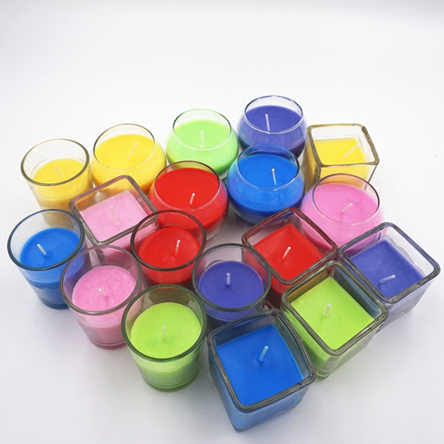 Small Romantic Glass Candle Cup Jar Windproof Wedding Decoration Scented Candles Candle Wax Birthday Bougies Tealight 50KO325