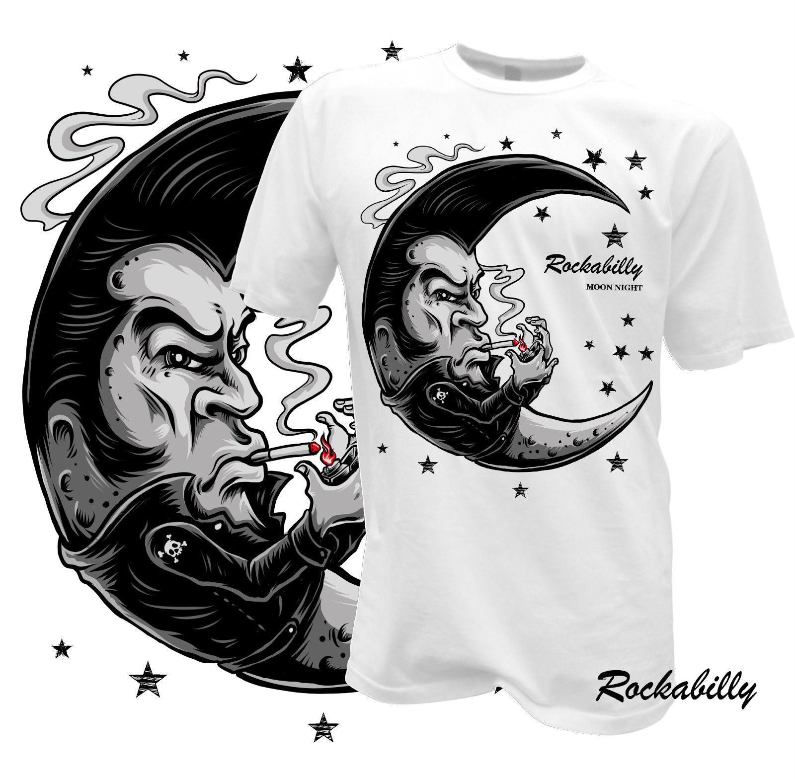 099701dd2086 Detail Feedback Questions about 100% Cotton for Man Shirts T Shirt  Rockabilly Mond Nacht