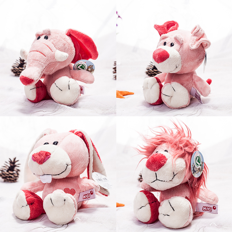 1pc 20cm cute pink NICI elephant rabbit lion dog plush toy stuffed soft cute animal toys cartoon appease doll for children gift stuffed dog plush toys black dog sorrow looking pug puppy bulldog baby toy animal peluche for girls friends children 18 22cm
