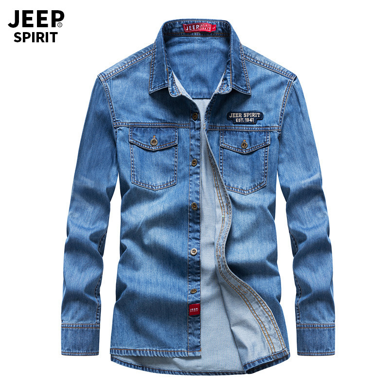 JEEP SPIRIT Pure Cotton Denim Shirt Men Casual Military Long Sleeve Turn-down Collar Single Breasted Jeans Shirt Male M-XXXL