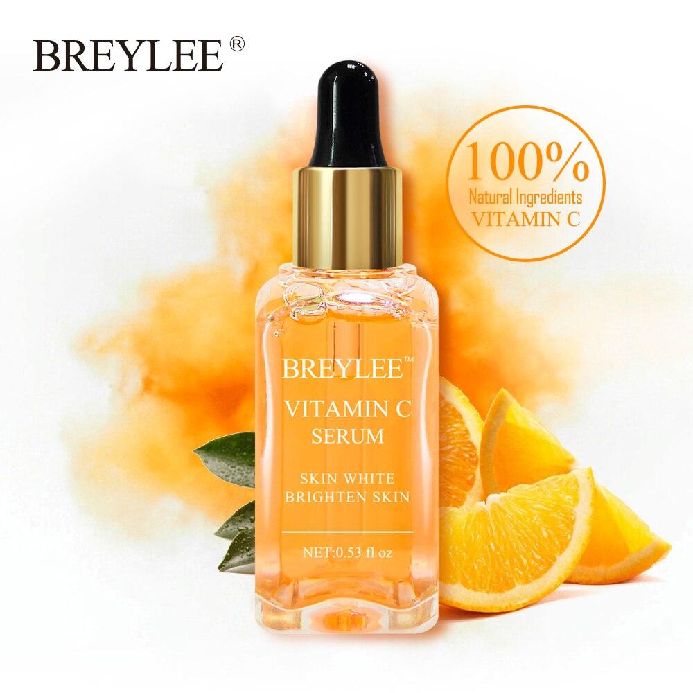 купить BREYLEE Vitamin C Whitening Serum Brighten Skin Face Skin Care Fade Dark Spots Freckle 100% Natural Ingredients Anti-aging Serum по цене 339.31 рублей