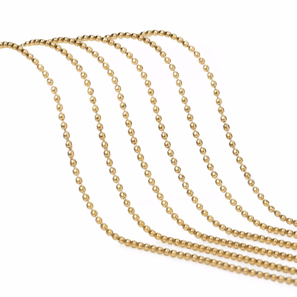 LOULEUR 10yard lot 1 5 2 2 4 3mm Yards Bead Chains Bulk Real Gold Color Link Chains for Diy Necklaces Bracelets Jewelry Makings in Jewelry Findings Components from Jewelry Accessories