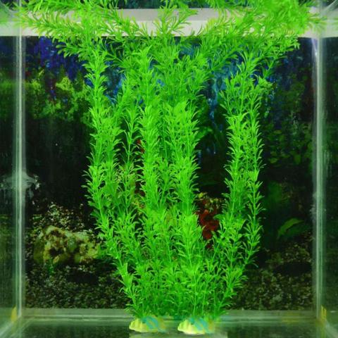 Hot Sale 2pcs Green Aquarium Artificial Water Plant Grass Decoration Fish Tank Landscaping Accessories Ornaments 30cm Pakistan