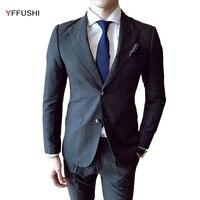 YFFUSHI 2017 Nieuwe Mannen Pak 3 Stuks Classic Grey Suits Tuxedo bruiloft Pakken voor Mannen Business Casual Beste mannen Blazer Slim Fit