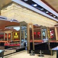 Большой отель проект кристалл лампы прямоугольная волна ювелирный магазин лобби зал Бар потолочный светильник светодиодный светильник до