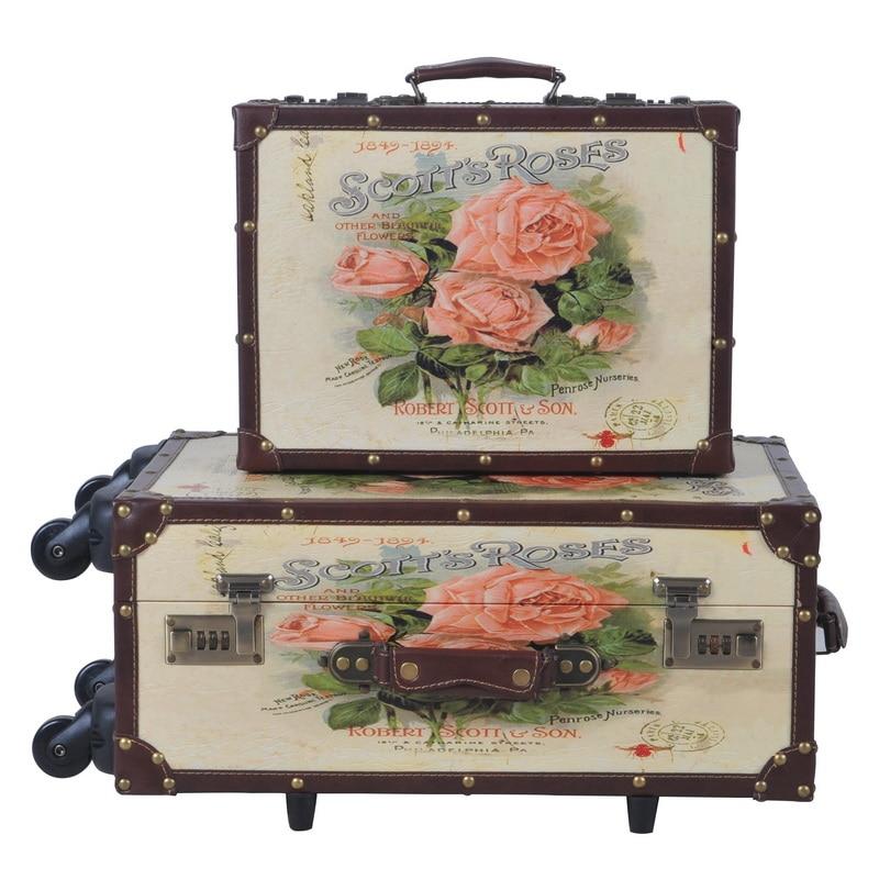 PU läder retro rosor tryckt väska väska bagage - Väskor för bagage och resor - Foto 2