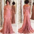 Mãe da Noiva Vestidos de Renda para Casamentos Fora Do Ombro Mangas Compridas Formal Do Noivo Mãe Vestidos Vestidos de Noite