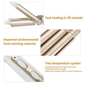 Image 3 - Ceramic Temperature Adjustable Triple Pipe Hair Curler Curling Iron Styling Tool