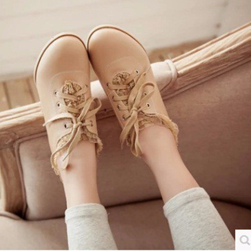 Lady's big size Sweet Lace-up Ribbons(4-12)Soft leather round toe Autumn ankle thick high-heeled boot fashion boots women shoes women ankle boots 2016 round toe autumn shoes booties lace up black and white ladies short 2017 flat fashion female new chinese