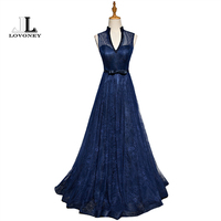 LOVONEY Evening Dresses Long 2017 New Arrival A Line V Neck Sexy Lace Formal Dress Evening