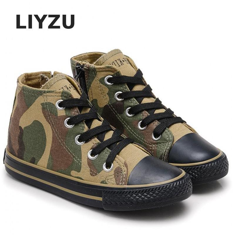 New Kids Shoes For Boys Girls Children Casual Shoes High-top Canvas Shoes Camouflage Tie School Field Military Training Sneakers