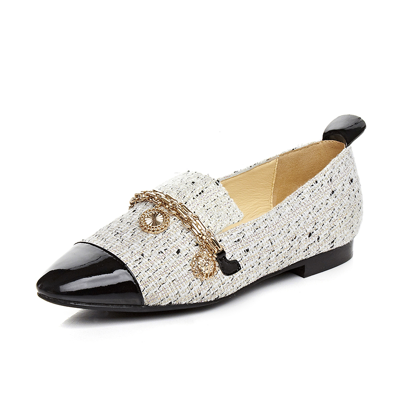 ФОТО 2017 Spring Women Flats Genuine leather Casual shoes White color Wedding shoes for Sexy ladies Size 34-39 Box Packing AF-D228