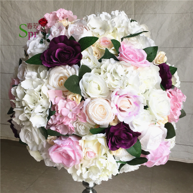 SPR NEW Free shipping 10pcs lot wedding road lead lavender artificial flower ball wedding table flower