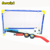 2 In 1 Outdoor Indoor Kids Sports Soccer Ice Hockey Goals With Balls And Pump Practice