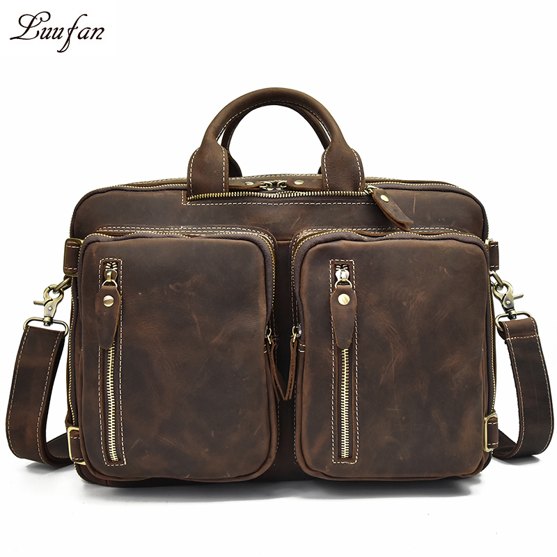Men s Crazy horse leather briefcase with double PC pocket Genuine leather laotop handbag leather business