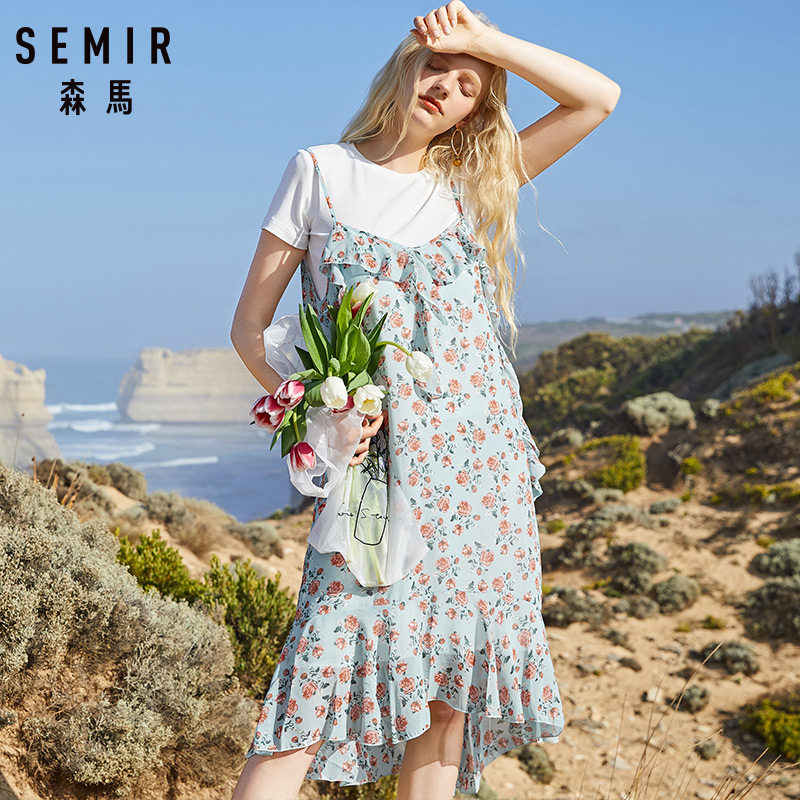 SEMIR 2019 nueva moda chica vestido de talla grande de verano Casual cuello redondo negro blanco divertida camiseta bolsillo mujer vestido