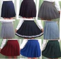 Fashion Woman Lady High Waist Japanese School Uniform Pleated Skirt S XXL Multi Color Solid Cosplay