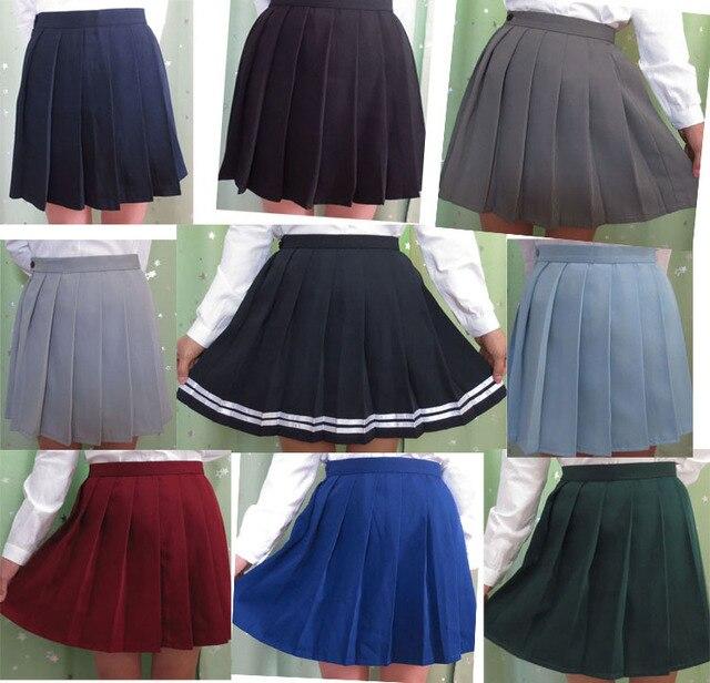 5e58f9c1dd Falda plisada uniforme escolar japonés de cintura alta de mujer de moda  S-XXL Multi