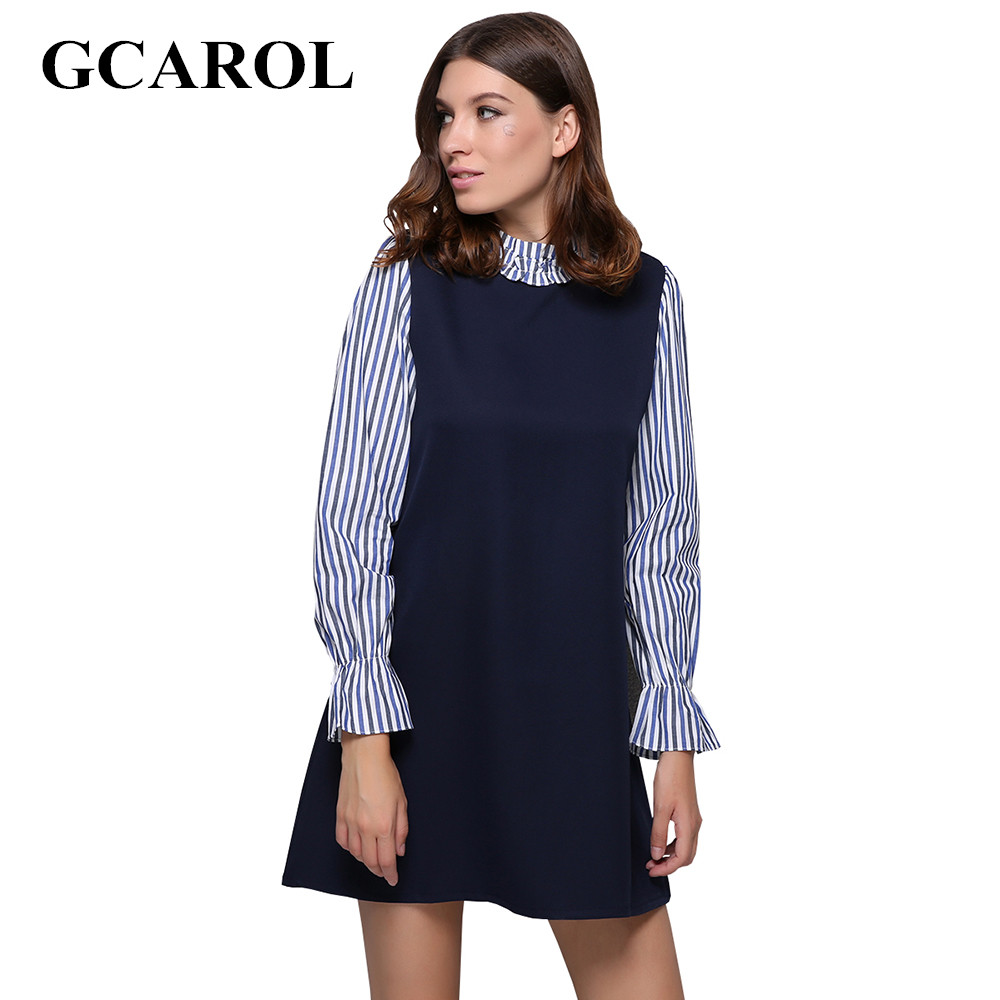 GCAROL Women New Striped Sleeve Spliced Dress Standard Collar Fake Two Pieces Dress Vintage Retro Spring Autumn Winter Dress