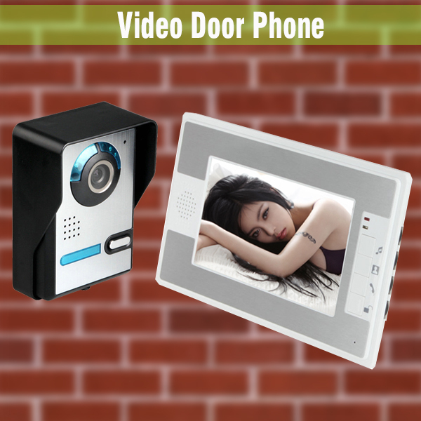 New 7 Inch LCD Monitor Door wired video intercom Doorbell Video Door Phone Home Camera Video Intercom system brand new wired 7 inch color video door phone intercom doorbell system 1 monitor 1 waterproof outdoor camera in stock free ship