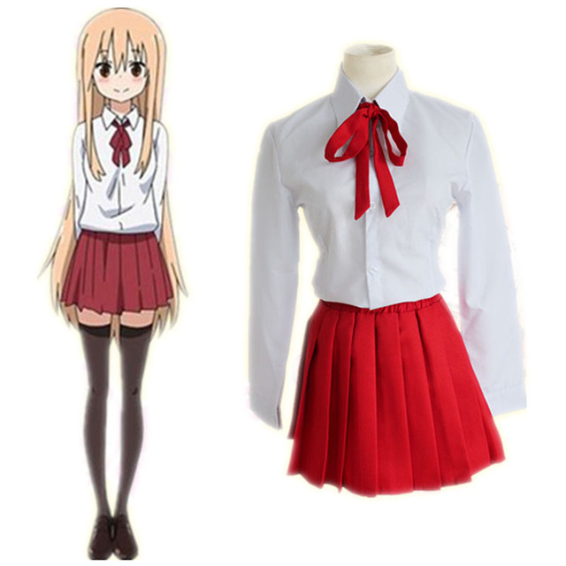 US $28 58 |Himouto! Umaru chan Dry matter younger sister! Umaru Doma  Cosplay School Uniforms Women Girl White Shirt + Red Skirt Fashion Set on