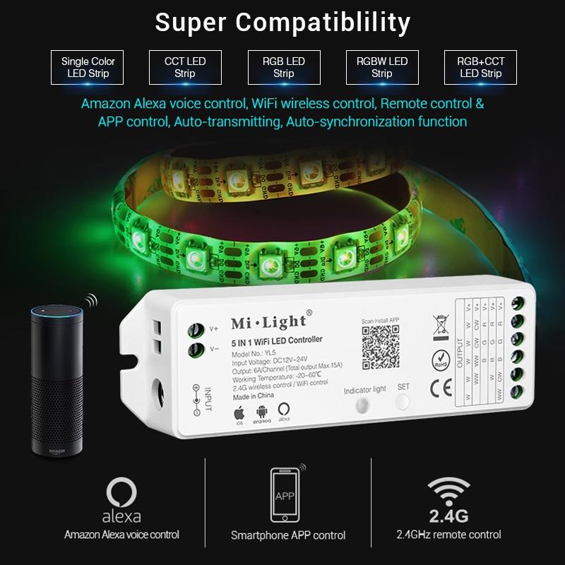 Mi Light 5IN 1 WiFi LED Smart Controller For Single Color RGB+CCT RGB RGBW LED Strip Amazon Alexa Voice Phone App Remote Control