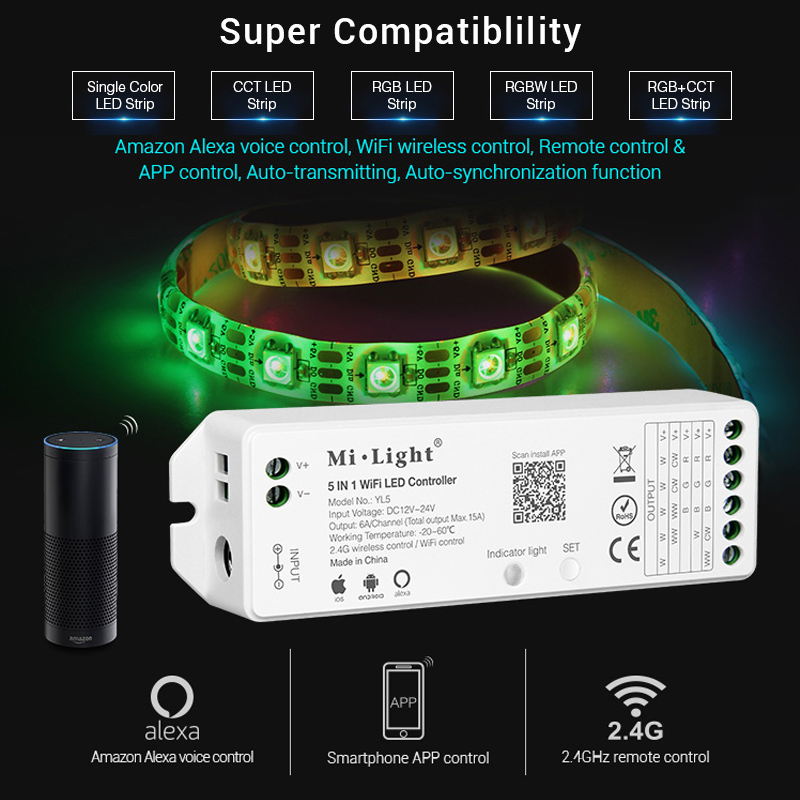 mi light 5IN 1 WiFi LED Smart Controller for single color RGB+CCT RGB RGBW LED strip Amazon Alexa Voice phone App Remote control