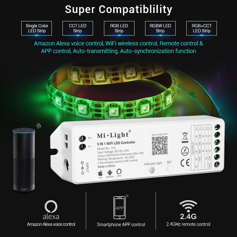 mi light 5IN 1 WiFi LED Smart Controller for single color RGB RGBW RGB+CCT LED strip Amazon Alexa Voice phone App Remote control