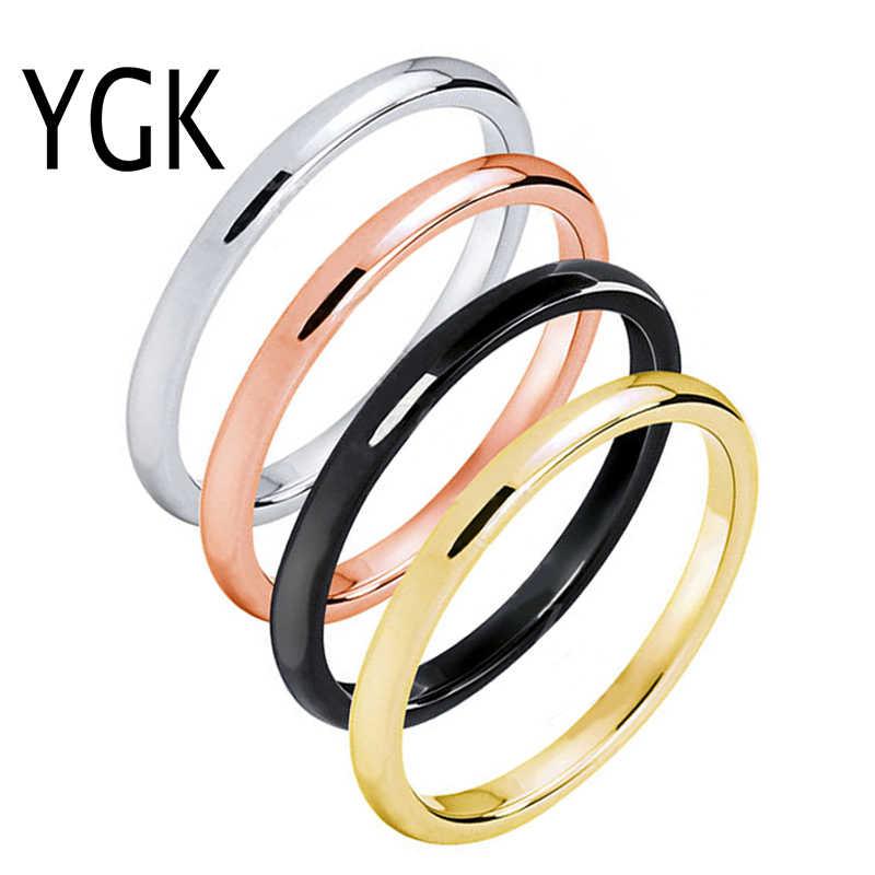 YGK เครื่องประดับ 2 มิลลิเมตรความกว้างแหวนทังสเตนหญิง Charms แหวนแหวนคนรักแหวน