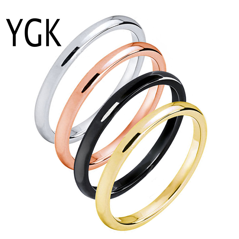 YGK BRAND JEWELRYUSA Canada UK Russia Brazil Hot Sales 2MM Rose Gold/Gold/Silver and Black Tungsten Wedding Ring Size 4-12