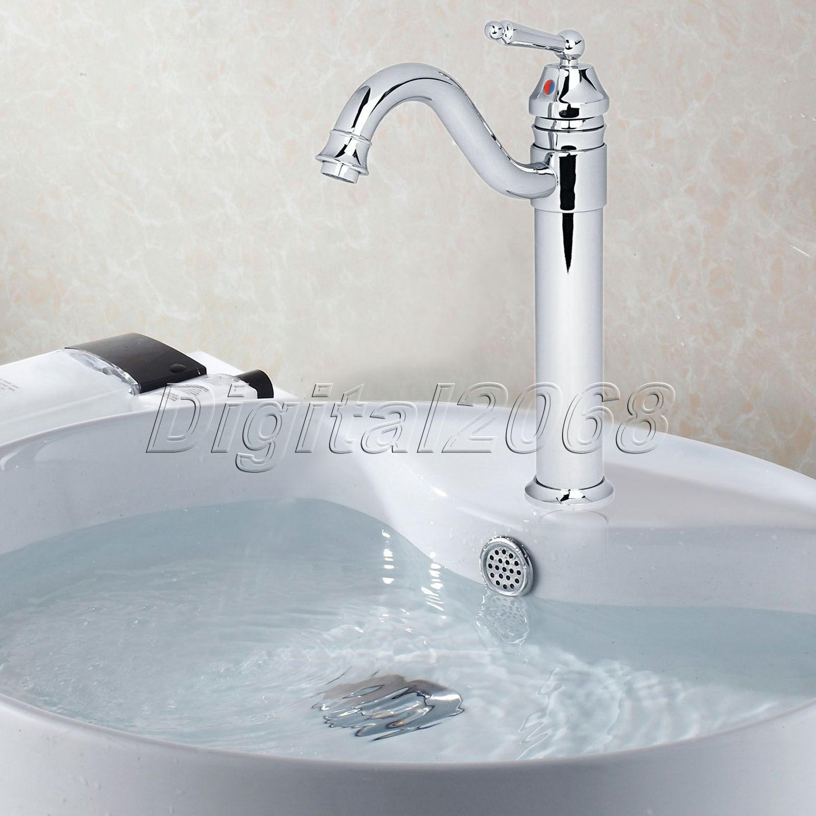 Brass Chrome Bathroom Faucet Single Handle Hole Lavatory Vessel Sink Cold And Hot Water Mixer