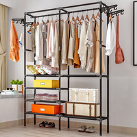 Bedroom Floor Hanger Simple Coat Rack Clothes Storage Wardrobe Home Shelf Hangers Economical Drying Racks Bedroom Furniture