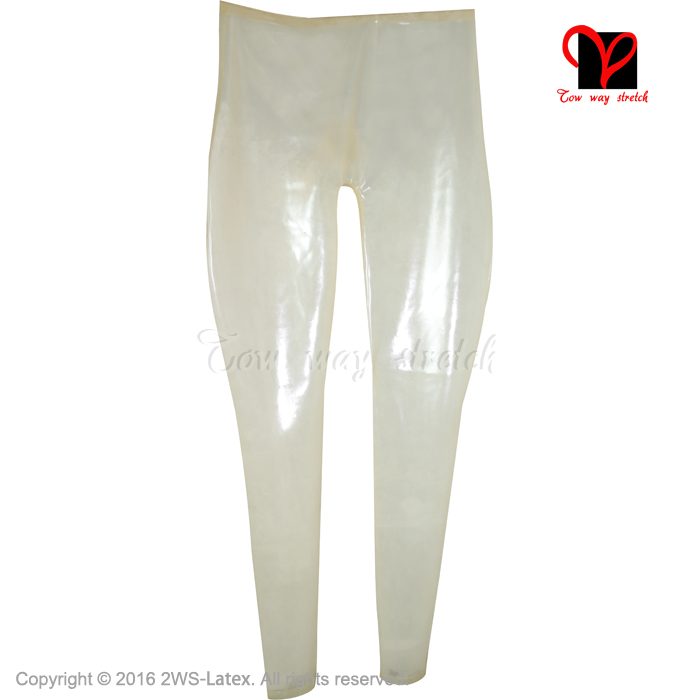 transparent natural with black loosely Sexy Long Latex Leggings Rubber Pants Trousers bottoms pants KZ 160 - 5
