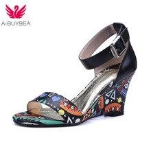 купить Summer New Real Leather Printting Sexy High Heels Women Sandals Gladiator Peep Toe Buckle Shoes Women Fashion Party Woman Shoes по цене 2573.27 рублей