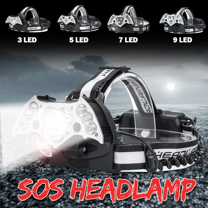 Brightness 7-Modes 150000lm USB 11 T6+Red LED Head Torch Lamp Headlight Outdoor