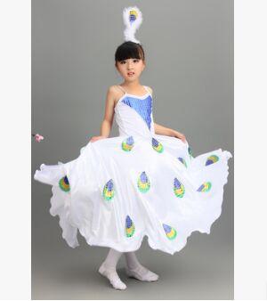 Bianco Costumi Ballerino Per Le Donne I Bambini Del Pavone Costume Delle Ragazze Del Vestito Del Pavone Bianco Del Vestito Del Pavone