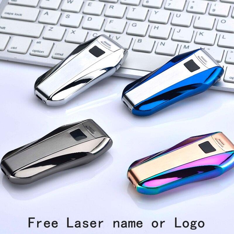 USB encendedor doble arco a prueba de viento de Metal sin llama electrónico encendedor de Plasma encendedor grabar