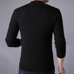 Liseaven Men's Sweater Male Jacket Solid Color Sweaters Knitwear Warm Sweatercoat Cardigans Men Clothing 5
