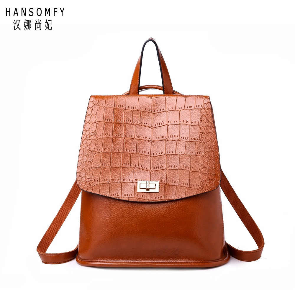 100% Genuine leather Women backpack 2019 New wave of female students backpack spring and summer fashion Crocodile grain bag100% Genuine leather Women backpack 2019 New wave of female students backpack spring and summer fashion Crocodile grain bag