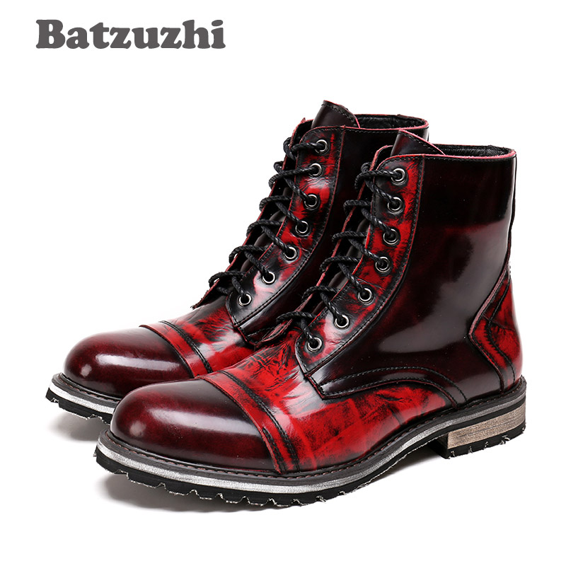 Batzuzhi 2018 Autumn Winter Men's Boots Wine Red Mid-Calf Leather Boots Men British Leather High Boots for Men Zapatos Hombre british style splicing and buckle design mid calf boots for men